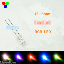 20Pcs F5 5mm MultiColor Rainbow Fast Flashing Flash RGB Red Blue Green LED Leds