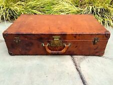 LOUIS VUITTON Antique LEATHER Travel suitcase Trunk chest purse bag LV steamer