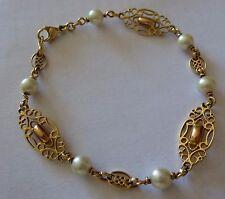 superbe Ancien Bracelet 1900 en or 18 carats serti de perles de culture 7,6 gr