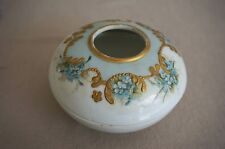 Limoges T & V France HAIR RECEIVER Forget Me Not Flowers and Gilt - Signed E.L.M