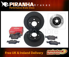 BMW 5 Saloon E60 535d 10/04- Front Brake Discs Black Dimpled Grooved Mintex Pads