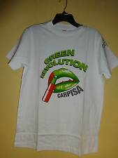 Carpisa Green Revolution T Shirt Tee White Green Lips Size M Cotton