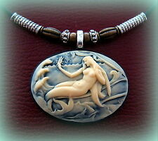 MERMAID CAMEO Nude Sea Nymph Jewelry ANTIQUE ArtNouveau Victorian Style Pendant