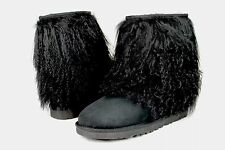 UGG CLASSIC SHORT CUFF MONGOLIAN SHEEPSKIN BLACK BOOT WITH THE FUR! SIZE 7 US