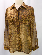 CHICOS Sheer Leopard Spots Animal Print Button Front Blouse Top 0 XS S