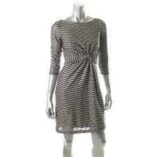 Muse Black-Ivory Textured Lined Knot Front Wear to Work Dress  Women's 12