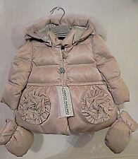 BNWT I PINCO PALLINO GOLD PADDED COAT AGE 3 MONTHS WITH MITTENS. TAG PRICE £355