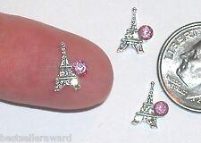 2pc Miniature Dollhouse TINY little crystal Eiffel Tower bail findings flatbacks