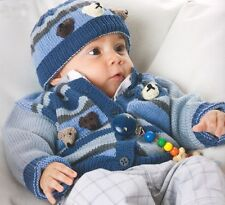 "Teddy Bear Head Baby Cardigan Vest & Hat  24"" - 31"" 4 Ply Knitting Pattern"