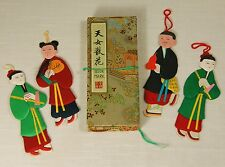 LOT OF 4 VINTAGE CHINESE ASIAN PAPER & SATIN SILK CLOTH PAPER DOLLS Bookmarks