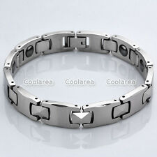Mens Energy Silvery Steel Magnetic Therapy Link Chain Bracelet Health Wristband