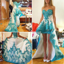 High Low Blue Sweetheart Evening Dresses Cocktail Prom Party Bridesmaid Gown