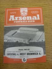 03/02/1962 Arsenal v West Bromwich Albion  (Light Crease, Score Noted On Cover &