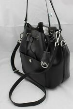 NEW AUTHENTIC MICHAEL KORS GREENWICH BLACK LEATHER HANDBAG MD BUCKET BAG WOMEN'S