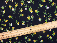 "VINTAGE ""YELLOW ROSE BUD"" RAYON Sewing Fabric BTHY"