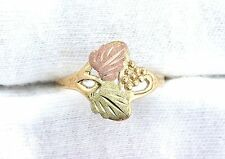 10Kt Two Tone REAL Yellow Gold Black Hills Gold Type Grape Leaves Ring Sz 6.75