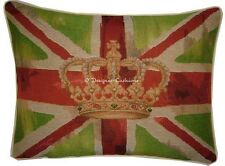 Union Jack Lime Green Flag Design #1 Oblong Woven Tapestry Cushion Cover