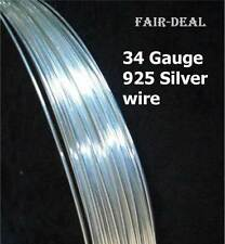 5' FEET INDIAN 925 STERLING SILVER ROUND SOFT WIRE 34 Gauge JEWELLERY MAKING