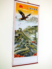 CHINESE CANE BAMBOO WALL HANGING SCROLL GREAT EAGLE PICTURE NEW YEAR PARTY G1