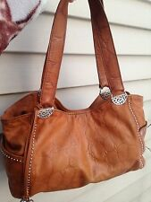 BRIGHTON ANDIE PRETTY TOUGH COLLECTION STUDDED ORGANIZER SHOULDER BAG BROWN CROC
