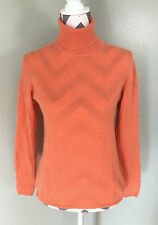 VALERIE STEVENS Womens Orange 2 Ply Cashmere Turtleneck Sweater Size S
