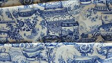 RARE French Country Blue & White Porcelain China Teapot Teacup Fabric
