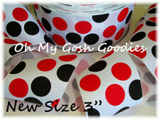 "3"" WHITE RED BLACK MAGICAL JUMBO DOTS GROSGRAIN RIBBON FOR CHEER HAIRBOW BOW"
