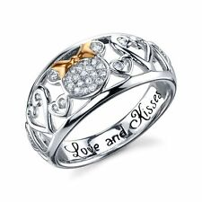 STERLING SILVER GENUINE NATURAL DIAMOND LOVE & KISSES DISNEY MINNIE MOUSE RING 9