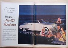 1948 two page magazine ad for Studebaker - convertible at beach party, dream car
