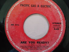 """PACIFIC GAS & ELECTRIC """"ARE YOU READY?""""  45 RPM Vinyl Record  """"STAGGOLEE""""  music"""