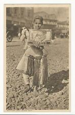 YOUNG BAREFOOT BOY IN INDIA WORKING AS STREET VENDOR   (VINTAGE RPPC)