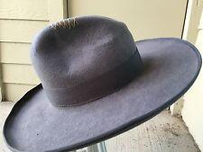 Vintage Gray Gus Western Fedora Cowboy Hat Pencil Curl Stitching 7 1/2 Westworld