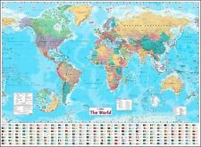 Collins World Wall Paper Map by Collins UK (2013, Sheet Map, Flat, New Edition)