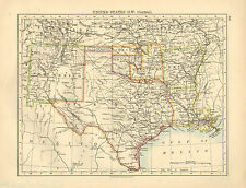 1892 VICTORIAN MAP ~ UNITED STATES SOUTH-WEST CENTRAL ~ TEXAS NEWMEXICO ARKANSAS