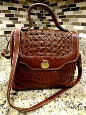 *STUNNING*  BRAHMIN  CROCODILE LEATHER SHOULDER BAG DOCTOR STCHEL VINTAGE BROWN