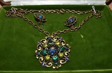 Vintage Hobe Necklace & Earrings Set Blue/Green Crowns In Original Box NICE!