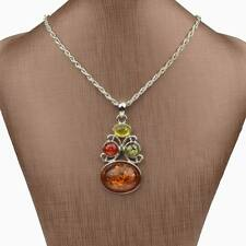 Classic Vintage faux amber Oval Charm Statement Chain School Necklace Pendant