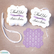 50 Thank You Personalized Wedding Favor Tag, Gift Tags, Bridal Shower * Damask