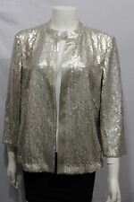 New Akris Women Silver Champagne Cocktail Cardigan Jacket Sequins Blazer Size 10