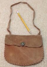 70s BROWN SUEDE Split Leather PURSE BAG HIPPIE Style For Halloween Costume