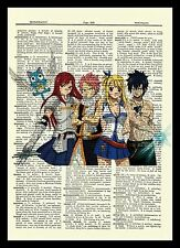 Fairy Tail Natsu Gray Anime Dictionary Art Print Poster Picture Erza Lucy Happy