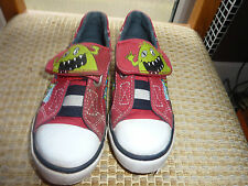 BOYS START-RITE MONSTERS SIZE 7 SLIP ON CANVAS SHOES PLIMSOLES VGC