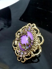 Gold Metal Purple Stone Crystal Victorian Style Stretch Ring Elegant Floral