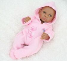 "Handmade 11"" Real Looking Silicone Newborn Baby Realistic Black Reborn Doll 143"