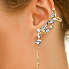 Spargz Gold Plated AD Stone With Pearl Long Chain Tassels Left Ear Cuff AIER 882