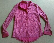 SEXY DARLING HOT PINK FLORAL LACE LINED LIGHTWEIGHT BLOUSE SHIRT SIZE 10 S