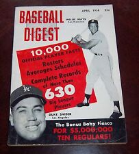Baseball Digest April 1958 Willie Mays / Duke Snider