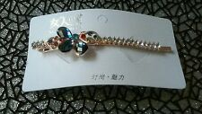 Fashion Asian Women Blue Crystal Rhinestone Hair Clip Hairpin Bobby Pin Jewelry