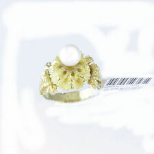 NYJEWEL 14k Gold New Awesome Handcraft Floral Engraved Big 8mm Pearl Ring $1999