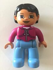 *NEW* Lego DUPLO Female MEDIUM BLUE Legs MAGENTA Top BLACK Hair Brown Eyes